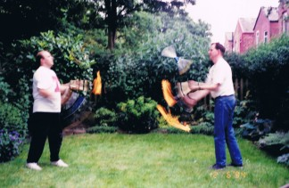 Lee and I practising our torch passing 1994